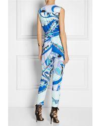 Emilio Pucci | Blue Printed Jersey Jumpsuit | Lyst