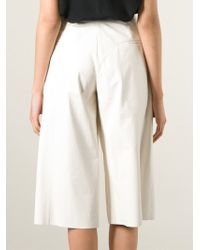 DROMe - White Leather Culottes - Lyst