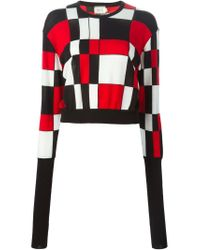 Fausto Puglisi - Red Geometric Patterned Jumper - Lyst