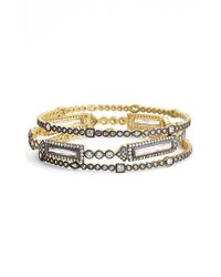 Freida Rothman | Metallic 'metropolitan' Stackable Bangles - Gunmetal/ Clear (set Of 3) | Lyst