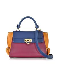 Ferragamo | Metallic Small Sofia Color Block Leather Shoulder Bag | Lyst