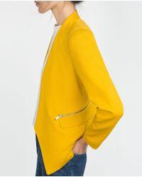 Zara | Yellow Blazer With Zips | Lyst