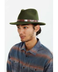 Brixton - Green Messer Fedora Hat for Men - Lyst