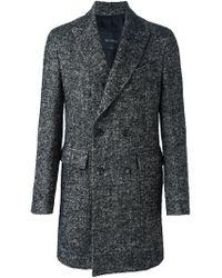 Dell'Oglio - Black Double Breasted Midi Coat for Men - Lyst
