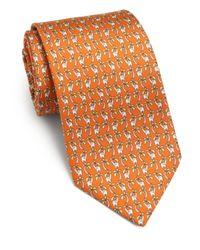 Ferragamo - Orange Elephant-print Silk Tie for Men - Lyst