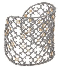 Alexis Bittar - Metallic Silver Crystal Studded Spur Lace Cuff Bracelet - Lyst