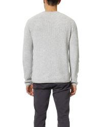 VINCE | Gray Cashmere Thermal Stripe Crew Neck Sweater for Men | Lyst