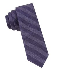 Calvin Klein | Purple Striped Tie for Men | Lyst