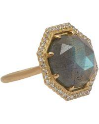 Jamie Wolf   Metallic Gold Labradorite And Diamond Octagon Ring   Lyst