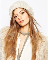 Pieces - Natural Chunky Knit Beanie Hat - Lyst