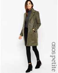 ASOS | Natural Petite Slim Coat With Seam Detail | Lyst