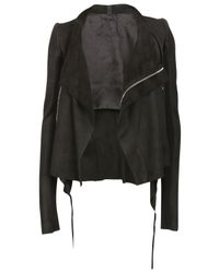 Rick Owens | Leather Low Neck Biker Jacket Black | Lyst