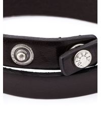 DIESEL | Black Double Wrap Bracelet for Men | Lyst