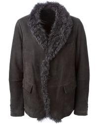 Giorgio Armani - Gray Shearling Single Breasted Coat for Men - Lyst