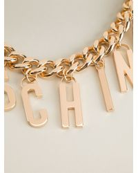 Moschino - Metallic Logo Charm Necklace - Lyst