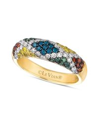 Le Vian - Yellow Mixberry Diamond Patterned Skinny Ring 910 Ct Tw in 14k Honey Gold - Lyst