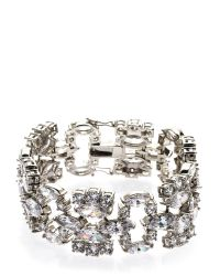 CZ by Kenneth Jay Lane | Metallic Rhodium-Plated Bracelet | Lyst