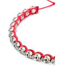 M Cohen | Red Mini Skull Friendship Bracelet for Men | Lyst