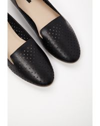 Forever 21 | Black Perforated Faux Leather Loafers | Lyst