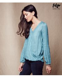 Tokyo Darling   Blue Long Sleeve Wrapped Top   Lyst