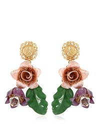 Dolce & Gabbana - Pink Hand Painted Gold Plated Earrings - Lyst