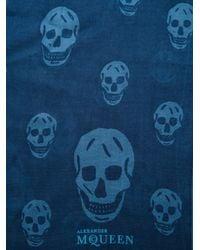 Alexander McQueen - Blue Skull Print Scarf - Lyst