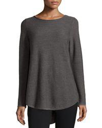Eileen Fisher - Gray Long-sleeve Merino Wool Tunic - Lyst