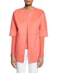 Michael Kors - Orange Open-Front Wool-Blend Topper - Lyst