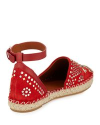 Valentino - Stud-Embroidered Suede Espadrille - Lyst