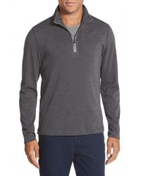 Robert Barakett - Gray 'francois' Regular Fit Quarter Zip Pullover for Men - Lyst