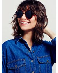 Free People - Black Coco Oversized Sunnies - Lyst