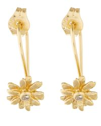 Alex Monroe | Metallic Tiny Gold Diamond Daisy Earrings | Lyst