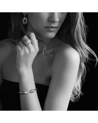 David Yurman - Metallic Cable Classic Crossover Bracelet With Pearls And Diamonds, 8.5mm - Lyst