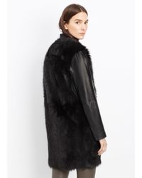 Vince - Black Shearling and Leather Coat  - Lyst