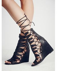 Free People - Gray Fooled You Lace Up Wedge - Lyst