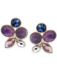 Jones New York | Purple Gold-tone Faceted Jewel Stone Clip-on Earrings | Lyst