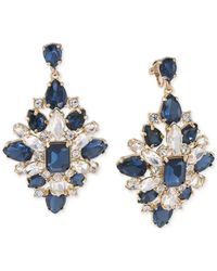 Carolee - Blue Gold-tone Crystal Clip-on Earrings - Lyst