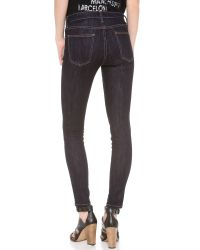 Current/Elliott | Blue The High Waist Ankle Skinny Jeans Rinse | Lyst