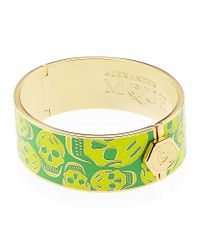 Alexander McQueen | Green Enamel Skull Bangle | Lyst