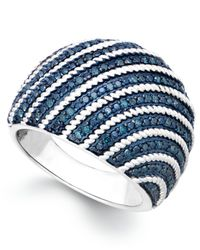 Macy's - Metallic Blue Diamond Dome Ring In Sterling Silver (1/2 Ct. T.w.) - Lyst