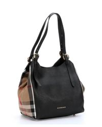 Burberry - Black Leather And House Check Small 'canterbury' Tote Bag - Lyst