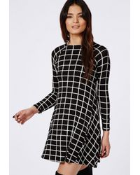 Missguided - Black Mikita Long Sleeve Swing Dress Grid Check - Lyst