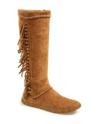 UGG Brown 'mammoth' Water Resistant Knee High Fringe Boot