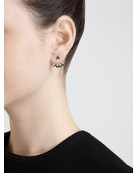Yvonne Léon - Black Diamond Leaf Lobe Earring - Lyst
