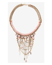 Express - Metallic Thread Wrapped Rope Chain And Bead Necklace - Lyst