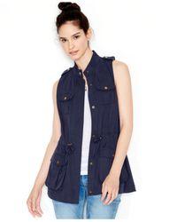 Maison Jules | Blue Drawstring Cargo Vest | Lyst