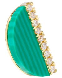 Kevia - Green Gold-plated Cubic Zirconia Earrings - Lyst