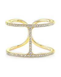 Anne Sisteron | 14kt Yellow Gold Diamond H Ring | Lyst