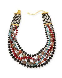 Jose & Maria Barrera | Black Draped Agate Beaded Bib Necklace | Lyst