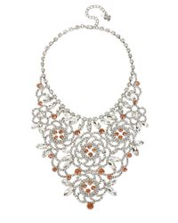 Betsey Johnson | Metallic Ballerina Rose Stone Bib Necklace | Lyst